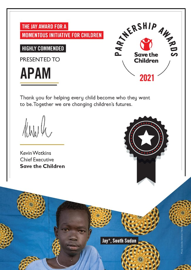The Jay Award Highly Commended Certificate - APAM